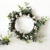 Wholesale halloween door decor for sale - Group buy Natural Cotton Garland Christmas Halloween Door Decoration Wreath Farmhouse Home Party Decor