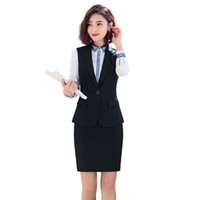 roupas femininas saias de escritório venda por atacado-Mulheres Trabalho Suit 2 Pieces Define Vest + elegante saia Formal Lady Escritório Entrevista Define S M L XL XXL XXXL