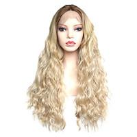 yeni sarışın peruk toptan satış-Yeni Stil Moda Sentetik Dantel Ön Peruk Koyu Kökleri Ombre Doğal Saç Çizgisi ile sarışın Uzun Dalgalı Peruk Orta Kısmı Kadın Moda peruk