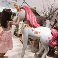 balon diy toptan satış-Unicorn Parti Folyo Balonlar büyük boy DIY Unicorn folyo Balon Doğum Günü Parti Malzemeleri Unicorn Tema Parti çocuk oyuncak Deko ...