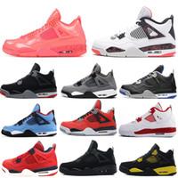 zapatos de baloncesto para hombres al por mayor-Alas de neón 4 4s Zapatos baloncesto de los hombres de raza frescos Singles Gato Gris Negro Toro Bravo para hombre de las zapatillas de deporte 7-13 Día Entrenadores