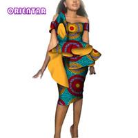 vestido africano bazin venda por atacado-Moda Feminina Vestidos Africanos para a Festa de Natal de Casamento África Impressão De Cera Bazin Riche Sexy Barra Pescoço Bodycon Midi Vestido WY3689
