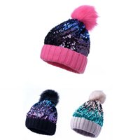 Wholesale sequin hats caps for sale - Group buy Winter Glitter Hats Fur Pompom Sequined Cap Beanies Girl Casual Warm Skullies Fashion Thick Knit Caps Sequin Hat GGA2417