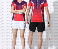 Wholesale table tennis t shirts shorts resale online - 23 Badminton wear couple models T shirt short sleeved quick drying color matching prints not faded table tennis sportswear