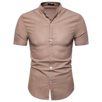 schwarze leinenspitzen großhandel-Männer Hemden Slim Fit Leinen Shirts Formelle Hemden Kurzarm Sommer Casual Tops Neue Ankunft S M L XL 2XL Weiß Schwarz