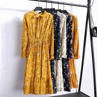 hermosos vestidos de adelgazamiento al por mayor-29 Colores Moda hermosa Primavera Otoño Nuevas mujeres Vestido de manga larga Retro Collar Vestidos delgados ocasionales Impresión floral gasa