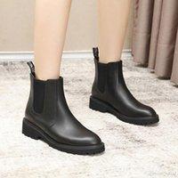 büyük çizmeler siyah kadınlar toptan satış-Çizme Kadınlar Sonbahar Deri sapanlar Kare Kafa Kadın Boots Kısa Tüp Moda Büyük İsim ile Kalın ile Siyah Martin Çizme