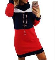 senhoras vestido com capuz venda por atacado-Moda-Mulheres Patchwork Hoodies Outono Inverno Novas Senhoras Vestido Longo Casacos Contraste Cor Hoodies Com Capuz