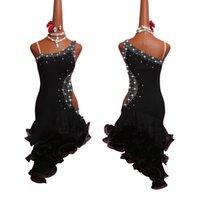 saias pretas para dançar venda por atacado-Strass brilhante Vestido de Dança Latina Mulheres Estiramento Net Perspectiva Sexy Black Latina Vestido de Festa Das Senhoras Oco Peixe Osso Saia
