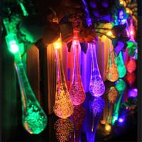 decoraciones de jardín al aire libre al por mayor-luces de cadena al aire libre 1.2M 10 LED Cadena de gota de agua a prueba de agua Luz de hadas Jardín al aire libre Decoración de fiesta de Navidad
