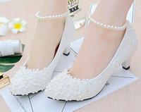 zapatos de baile de boda de marfil al por mayor-Hecho a mano de marfil de encaje de perlas de boda zapatos de fiesta de baile plana 4.5 cm 8 cm talón tacón bajo nupcial por encargo zapatos de dama de honor