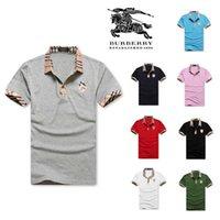 рыночная мода оптовых-Летние мужские рубашки поло стиль нового рынка моды личности столкновения цвета ниток шить мужскую повседневную футболку. Размер S-XXL