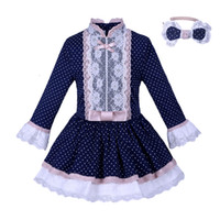 Wholesale navy dress 2t for sale - Group buy Pettigirl Navy Kids Girls Dresses With Lace Sash Polka Dots Dresses Vintage Boutique Spring Autumn Children Clothing G DMGD007 A145