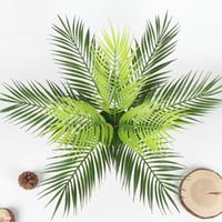 цветочный офисный стол оптовых-9- Sago Cycas Plastic Table Leaves Green Artificial Plants Fake Flower Landscape Wedding Decor For Home Office