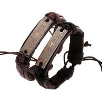 ingrosso monili caldi della mano del braccialetto-2019 vendita calda della lega croce braccialetto di cuoio cristiano croce bracciali braccialetti con mano fatti a mano donne uomini gioielli regalo trasporto libero