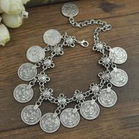 münzen armbänder frauen großhandel-Frauen Fashion Jewelry Armbänder Silber-Farbmünzen Anhänger baumeln hängende Armbänder Weinlese-ethnische Schmucksachen Geschenk-freies Verschiffen