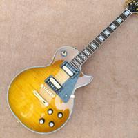 guitarra tigre amarillo al por mayor-Hecho en China, nuevo encargo superior tigre, guitarra LP amarillo, puede personalizar todo tipo de guitarra eléctrica, la entrega gratuita