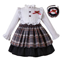 Wholesale high quality clothes for kids for sale - Group buy Pettigirl Christmas Girls Dresses Girl Autumn Grid Dress Headwear High Quality Boutique Party Princess Costumes for Kids Children Clothing