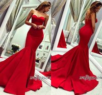 schatz ärmellose prom kleider abend groihandel-2019 New Red Gorgeous Sweetheart Mermaid Prom Dresses Günstige Sleeveless Backless Sweep Zug Kleider Abendmode