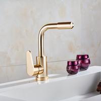 luxus wasserhahn großhandel-Raum Aluminium Gold Küchenhahn Gemüse Bad Waschbecken Wasserhähne kalt heiß Goldmixer Luxus