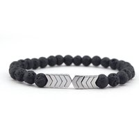 pfeil armband unisex großhandel-Vulkanischen Lava Stein Armband Für Männer Frauen Ätherisches Öl Diffusor Armbänder Armreif Heilung Balance Yoga Magnet Pfeil Perlen Armband