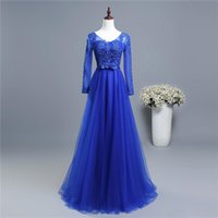 Wholesale back photos women for sale - Group buy Long Sleeves Formal Evening Dresses Wear Royal Blue Long Evening Gowns Bling Lace Appliques Women Party Dress Elegant