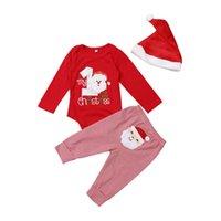 6ae743bc318e2 3pcs belle bébé garçon fille chaude Noël ensembles unisexe santa lettre  barboteuse pantalon à rayures chapeau de noël bébé partie tenues vêtements