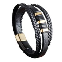 Wholesale genuine leather jewellery resale online - Fashion Leather Bracelet Stainless Steel Leather Woven Bracelet Genuine Multilayer Men S Jewellery