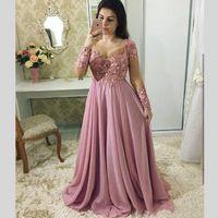 rosa plus größe bräute kleid großhandel-Dusty Pink Mutter der Braut Kleider Spitze Appliques Volle Hülsen Sheer Neck Prom Kleid Chiffon Perlen Plus Size Abendkleider