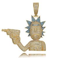 ingrosso pistola fumetto-2019 nuovi gioielli moda punk collane pieno di diamanti placcato oro 18k catene hip hop uomini ghiacciati out hiphop pistola collana pendente del fumetto