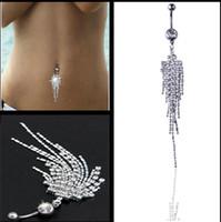 göbek delici çiçek toptan satış-Seksi Dangle Göbek Barlar Belly Button Gümüş elmas Yüzük Göbek Piercing CZ Kristal Çiçek Vücut Takı Göbek Piercing Yüzük Bırak gemi