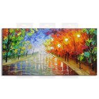 Wholesale best impressionist paintings resale online - hand painted modern living room decorative Landscape oil painting best Knife painting original directly from arti FJSH1