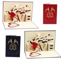 kart kalp 3d açılır toptan satış-Mutlu Doğum Günü Tebrik Kartı 3D Pop Up Kartları Aşk Ağacı Kalp sevgililer Günü Düğün Lover Hediye