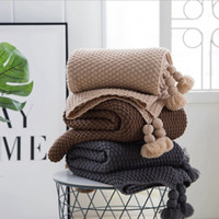 распродажа покрывало оптовых-Hot Sale Knitted Plaid Blanket Throw Blankets Bedspread Queen Bedroom Decor Portable Warm Blankets Tassel for Winter