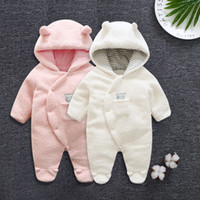 Wholesale baby bodysuits for sale - Group buy Baby Kids Romper Solid Hooded Thickening Keep Warm Rompers Baby Infant Girl Designer Clothes Cotton Climb Bodysuits Baby Jumpsuits