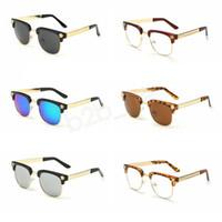 ingrosso modello di occhiali-Occhiali da sole da donna vintage tondi con montatura tonda stampati da uomo testa vuota disegno da viaggio protezione per gli occhi Occhiali da sole Occhiali da sole LBJA2744