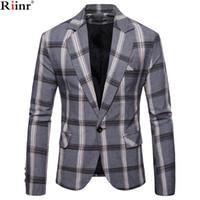 casual ternos slim fit algodão venda por atacado-Clássico Smart Riinr Marca Outono Men Casual Blazer Suit Mens Cotton Suit Jacket Slim Fit Homens Casual Blazer Para MaleMX190923