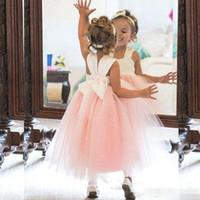 flowergirl kleidet elfenbein großhandel-2019 blumenmädchenkleider Prinzessin Ivory White Light Pink Puffy Tüll Flowergirl Kleid Formelle Kleider für Hochzeiten Knöchellänge Mädchen Tragen
