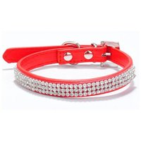 Wholesale choker collars for dogs for sale - Group buy Hot Bling Crystal Rhinestones PU Leather Pet Dog Collars Puppy Cat Choker Necklaces For Small Dog Collar Perro Pet LX6872