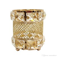 ingrosso grandi candele di nozze-Portacandele in oro Big Crystal Candle stand Wedding Table Centrotavola Evento Candeliere Pilastro Candelabri Decorazione domestica