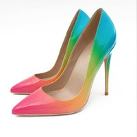 sapatos de arco-íris de salto alto venda por atacado-Moda Sexty Stiletto Bombas 2018 Superfície Do Arco-íris Sapatos de Grife Mulher 10 cm 12 cm Sandálias de Salto Alto Sapatos de Festa Wo