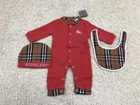 ingrosso pulcini carini lunghi-3PCS Baby Rompers + Hat + bibts Baby Boys Girls Clothing Set Carino Tuta da neonato in cotone manica lunga per bambini