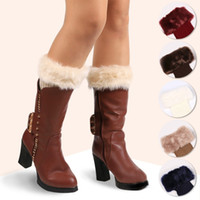 обогреватели для ботинок оптовых-Womens Winter Warm Crochet Knit Fur Trim Leg Warmers Cuffs Toppers Boot Socks Cuffs Toppers Boot Socks Cover Crochet