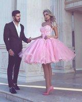 sevgilim tül pembe kısa elbisesi toptan satış-Kısa Pembe Mezuniyet Elbiseleri Gençler için 2020 Ucuz Boncuklu Sweetheart Tül Kabarık Kokteyl Parti Elbise Sweet 16 Balo Mezuniyet Elbise