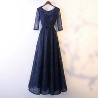 Wholesale gold evening dresses online - Beaded Scoop Neck Tulle A Line Evening Dresses Navy Blue Floor Length Party Dress Elegant