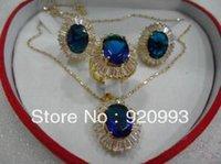 conjunto completo de joyas al por mayor-Cospay para mujer Pelucas llenas de cabello para mujer PP ******* Hermosa joyería Blue Zircon gem Earring Necklace Set silver-jewelry