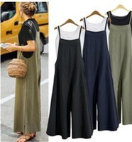 Wholesale sale jumpsuit resale online - Gallus Rompers Pure Color Loose Jumpsuits Sexy Simplicity Womens Hot Summer Casual Home Clothing Hot Sale hk E1