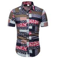 tissu de coton mince achat en gros de-Chemises à manches courtes en coton imprimé lin et coton décontracté pour hommes New Summer / tissu de lin pour hommes mince motif décontracté Hawaï