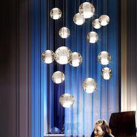 ingrosso hotel leggeri-Moderna sfera di cristallo LED Lampade a sospensione Lampade Lampade multiple per scale Bar Lampada a sospensione per hotel Villa Duplex