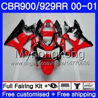 honda cbr 929 verkleidungen rot großhandel-Karosserie Für HONDA CBR900 RR CBR 929 RR CBR 900RR CBR929RR 00 01 279HM.13 CBR 929RR Hellrot schwarz CBR900RR CBR929 RR 2000 2001 Fairings Kit